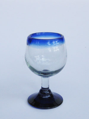 Wholesale MEXICAN GLASSWARE / 'Cobalt Blue Rim' stemmed tequila sippers  / Stemmed tequila sippers with a cobalt blue rim. Great for sipping tequila or serving chasers.